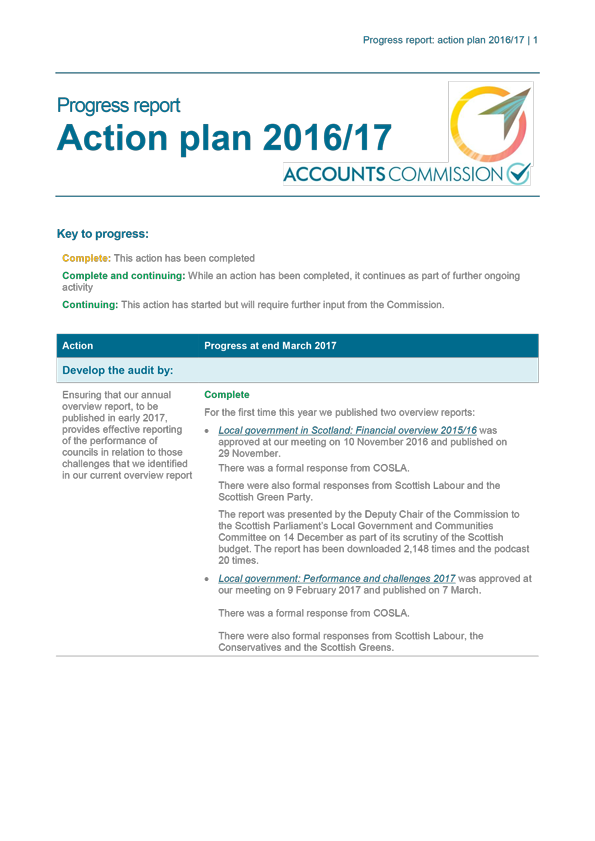 Action plan 2016/17 - Progress report