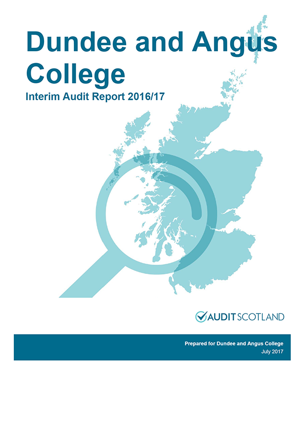 Report cover: Dundee and Angus College annual audit plan and interim audit report 2016/17