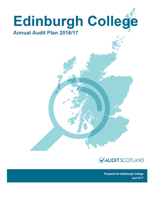 Report cover: Edinburgh College annual audit plan 2016/17