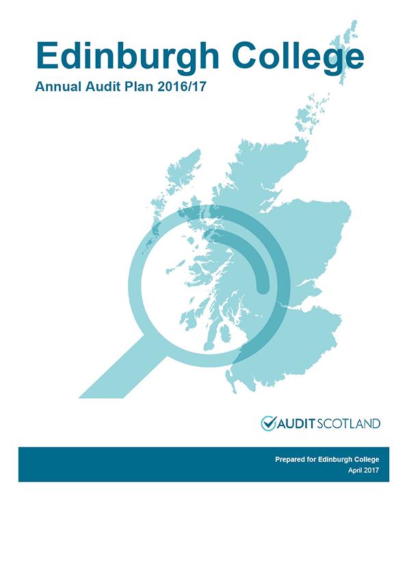 Report cover: Edinburgh College annual audit plan 2016/17