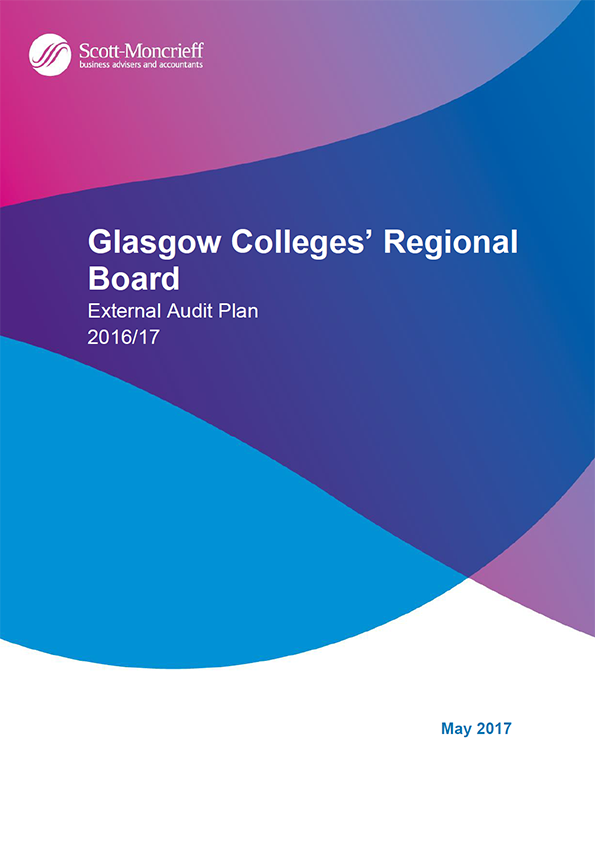 Report cover: Glasgow Colleges' Regional Board annual audit plan 2016/17