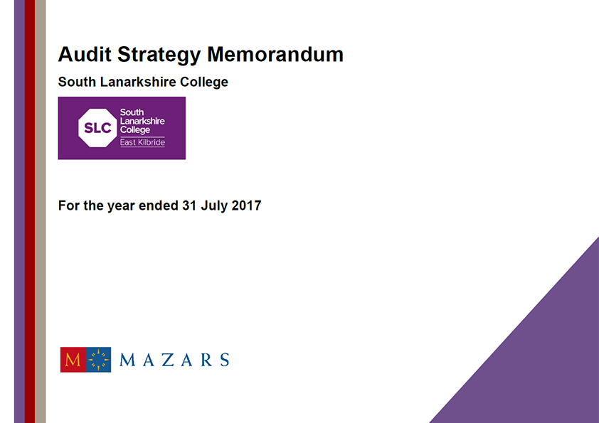 Report cover: South Lanarkshire College annual audit plan 2016/17