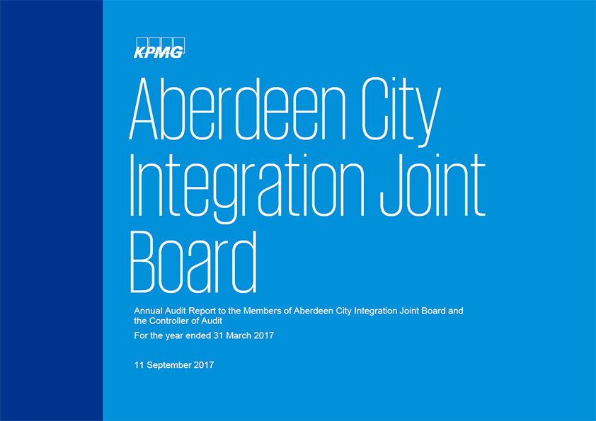 Report cover: Aberdeen City Integration Joint Board annual audit report 2016/17