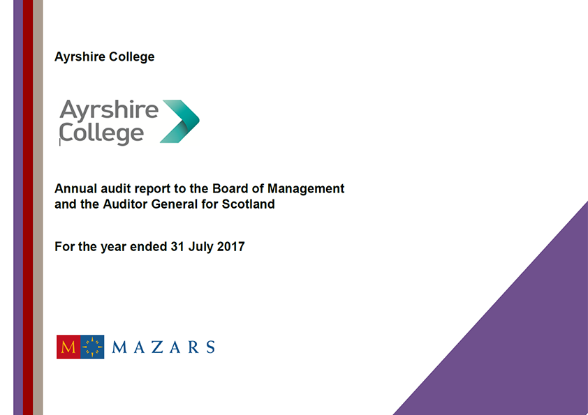 Report cover: Ayrshire College annual audit report 2016/17