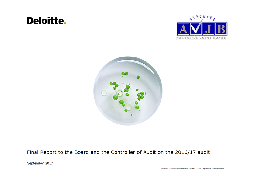 Report cover: Ayrshire Valuation Joint Board annual audit report 2016/17