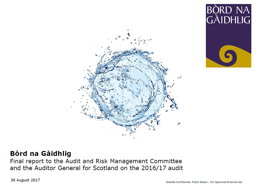 Report cover: Bòrd na Gàidhlig annual audit report 2016/17