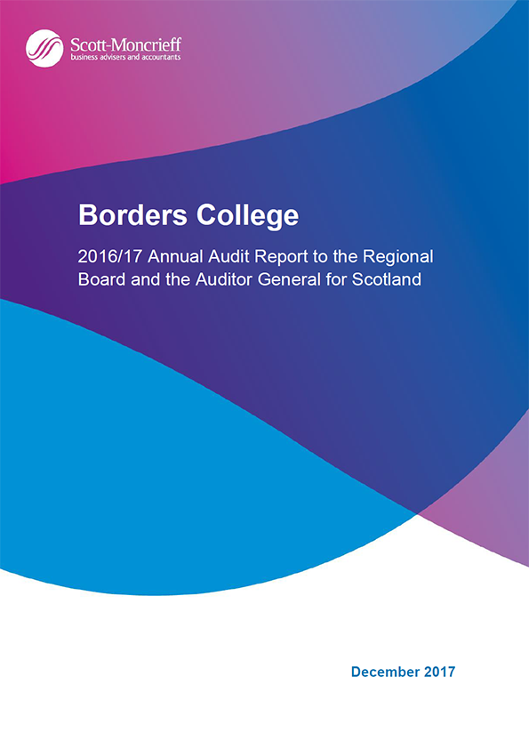 Report cover: Borders College annual audit report 2016/17