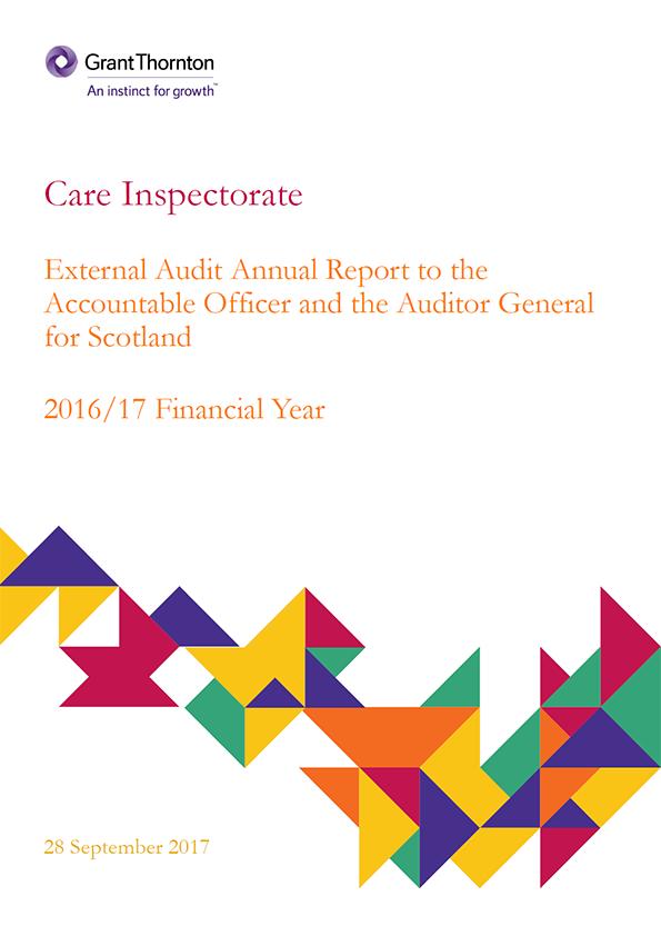 Report cover: Care Inspectorate annual audit report 2016/17