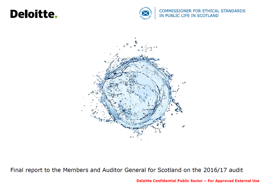 Report cover: Commissioner for Ethical Standards in Public Life in Scotland annual audit report 2016/17