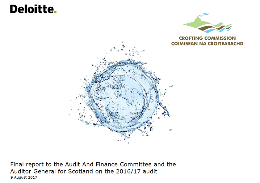 Report cover: Crofting Commission annual audit report 2016/17