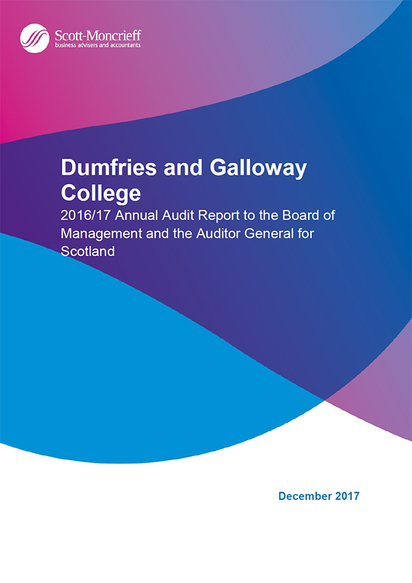 Report cover: Dumfries and Galloway College annual audit report 2016/17
