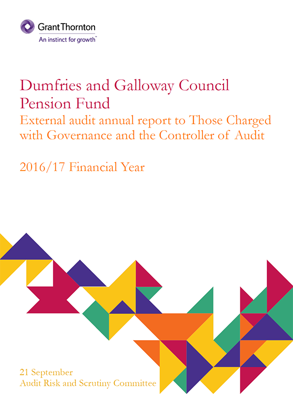 Report cover: Dumfries and Galloway Council Pension Fund annual audit report 2016/17