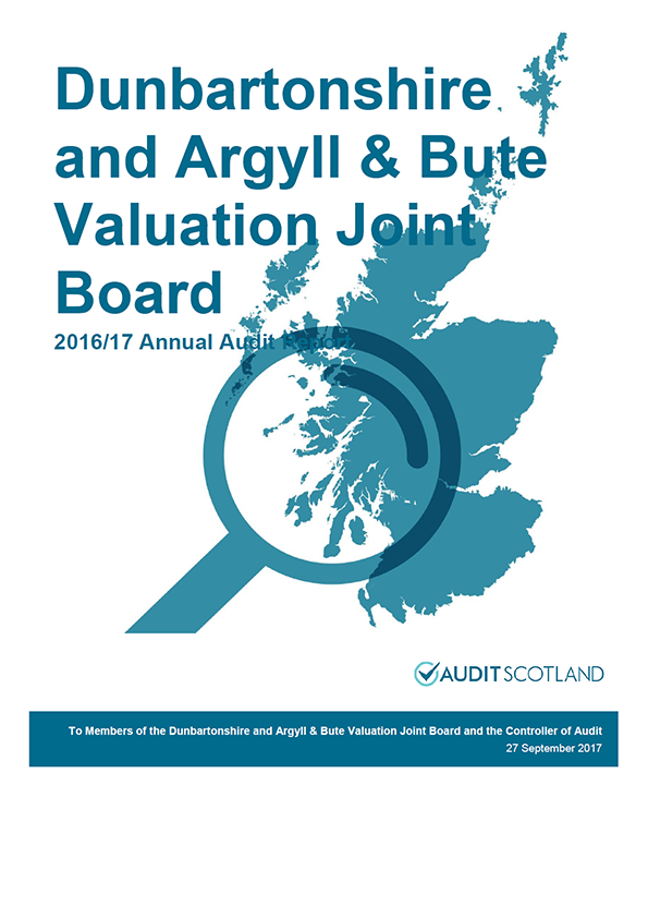 Report cover: Dunbartonshire and Argyll and Bute Valuation Joint Board annual audit report 2016/17