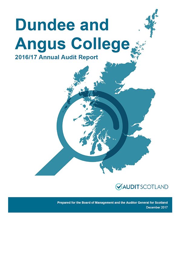 Report cover: Dundee and Angus College annual audit report 2016/17