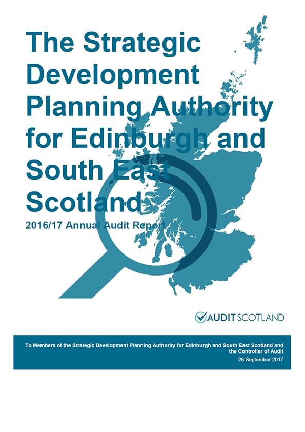 Report cover: The Strategic Development Planning Authority for Edinburgh and South East Scotland annual audit report 2016/17