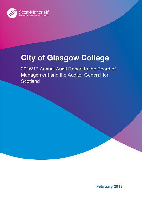 Report cover: City of Glasgow College annual audit report 2016/17