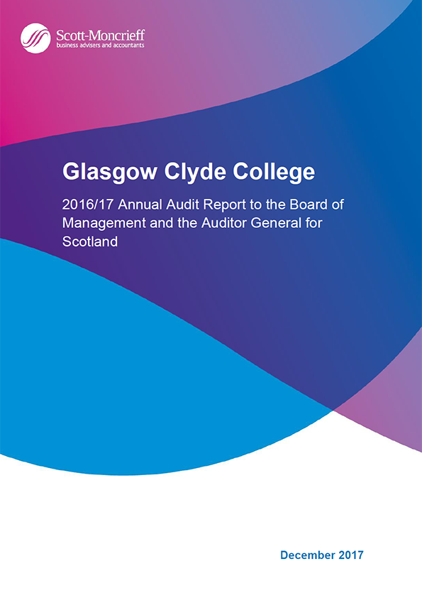 Report cover: Glasgow Clyde College annual audit report 2016/17