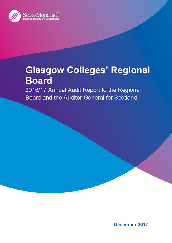 Report cover: Glasgow Colleges' Regional Board annual audit report 2016/17