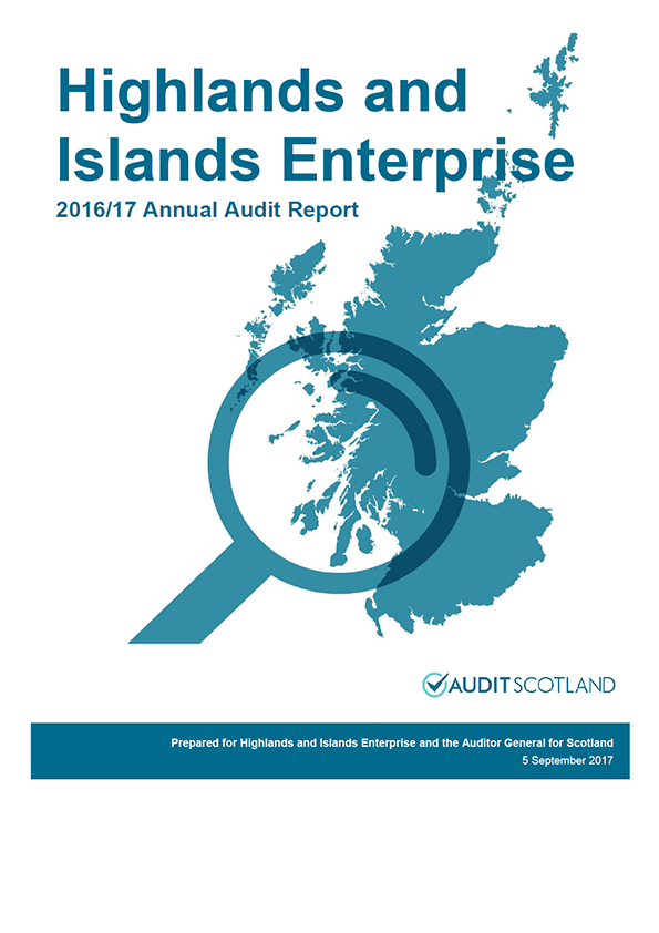 Report cover: Highlands and Islands Enterprise annual audit report 2016/17