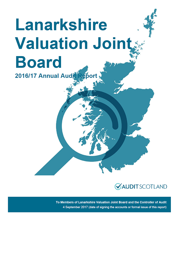 Report cover: Lanarkshire Valuation Joint Board annual audit report 2016/17