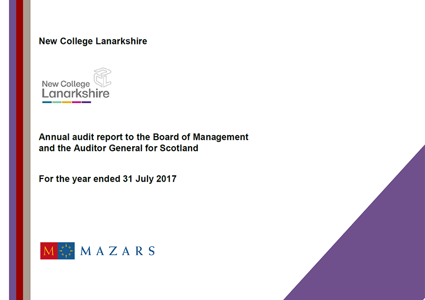 Report cover: New College Lanarkshire annual audit report 2016/17