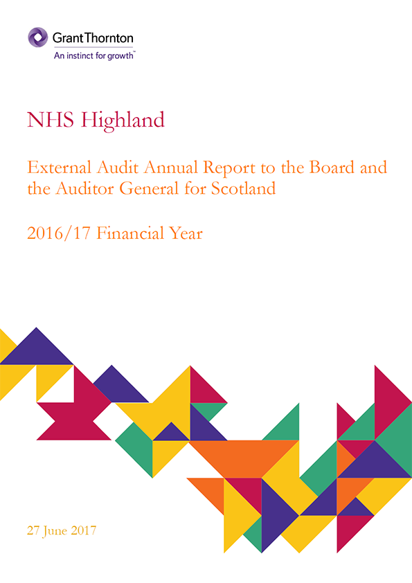 Report cover: NHS Highland annual audit report 2016/17