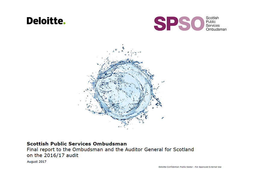 Report cover: Scottish Public Services Ombudsman annual audit report 2016/17