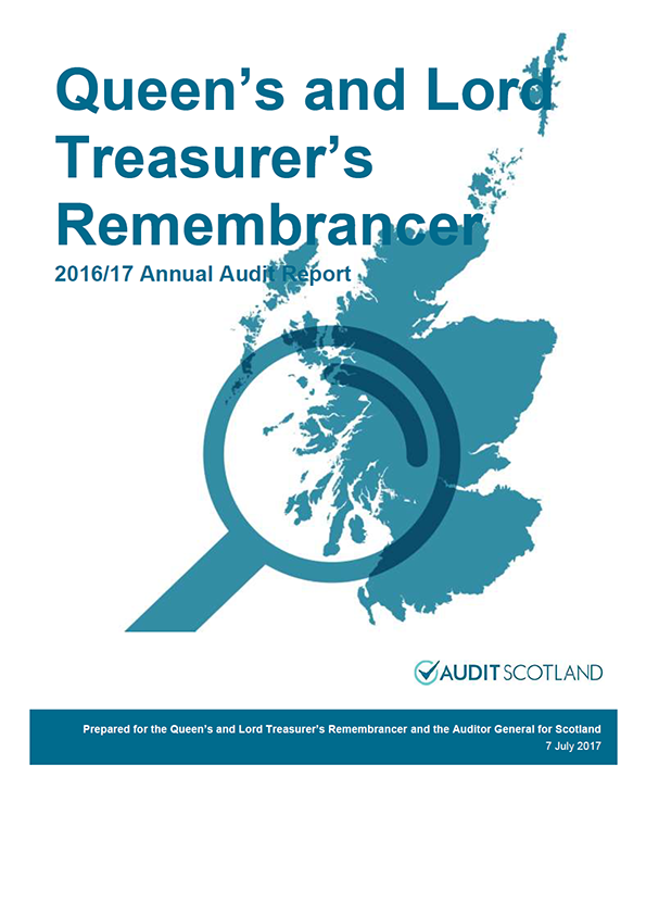 Report cover: The Queen's and Lord Treasurer's Remembrancer annual audit report 2016/17