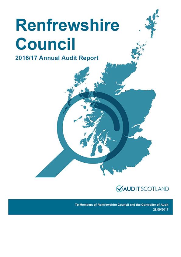 Report cover: Renfrewshire Council annual audit report 2016/17