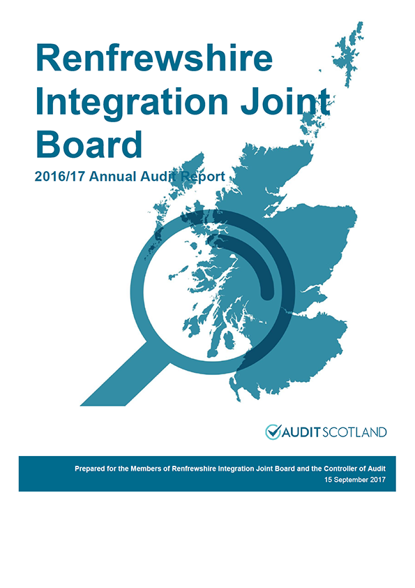 Report cover: Renfrewshire Integration Joint Board annual audit report 2016/17