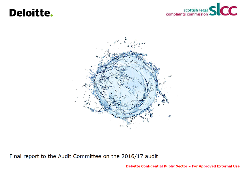 Report cover: Scottish Legal Complaints Commission annual audit report 2016/17