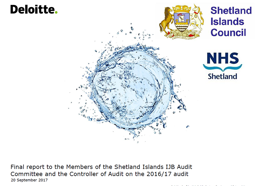 Report cover: Shetland Health and Social Care Partnership annual audit report 2016/17