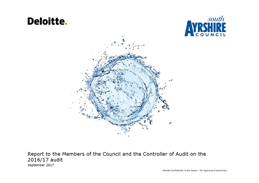 Report cover: South Ayrshire Council annual audit report 2016/17