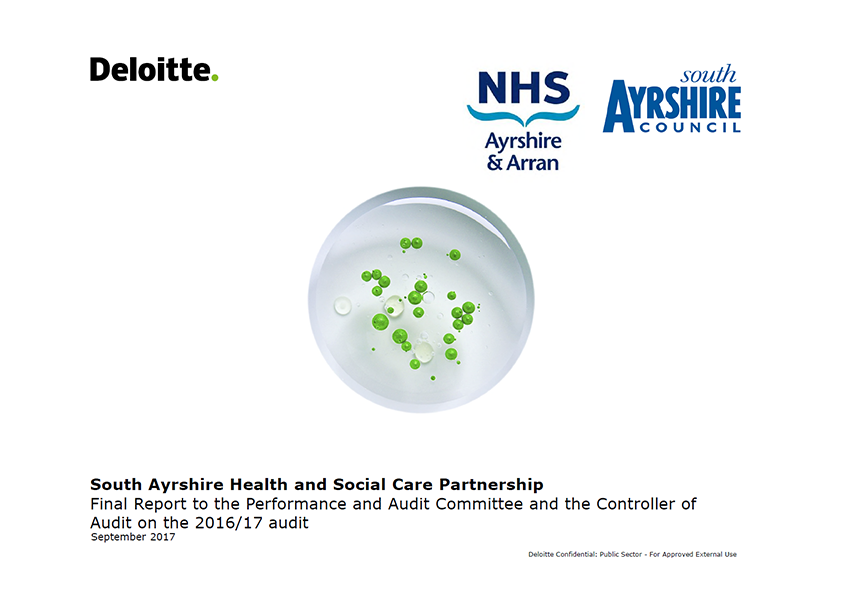 Report cover: South Ayrshire Health and Social Care Partnership annual audit report 2016/17