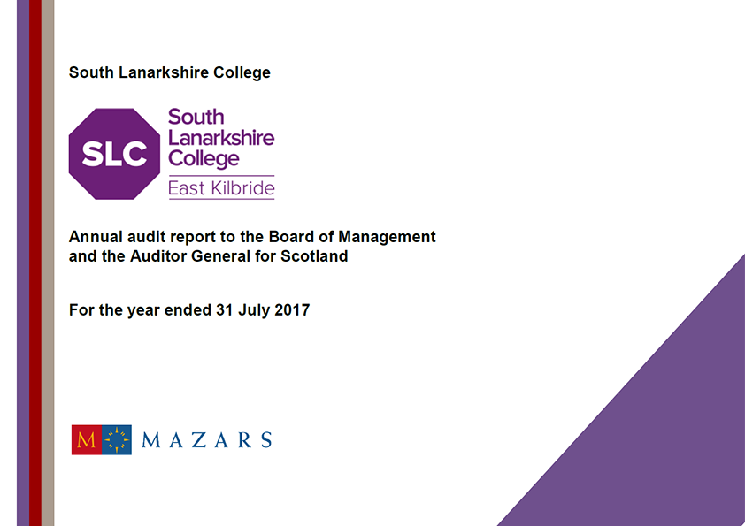Report cover: South Lanarkshire College annual audit report 2016/17