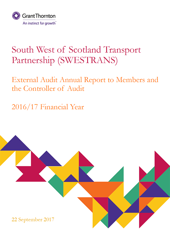 Report cover: South West of Scotland Transport Partnership annual audit report 2016/17