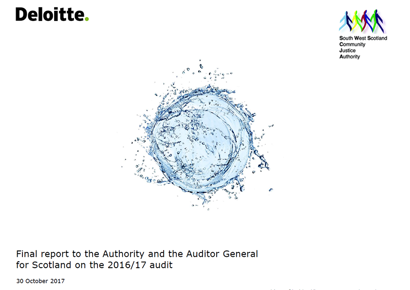 Report cover: South West Scotland Community Justice Authority annual audit report 2016/17