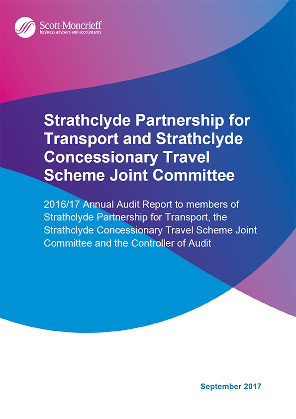 Report cover: Strathclyde Partnership for Transport and Strathclyde Concessionary Travel Scheme Joint Committee annual audit report 2016/17