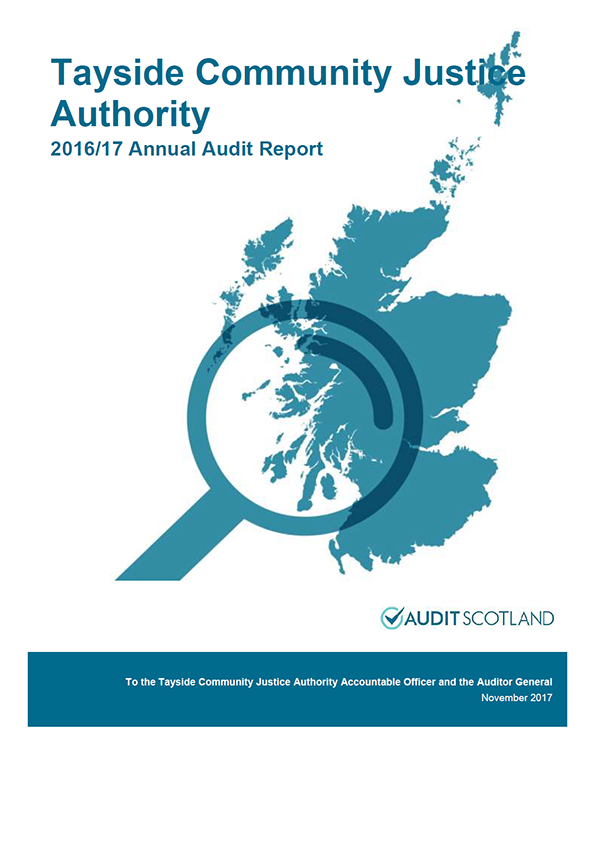Report cover: Tayside Community Justice Authority annual audit report 2016/17