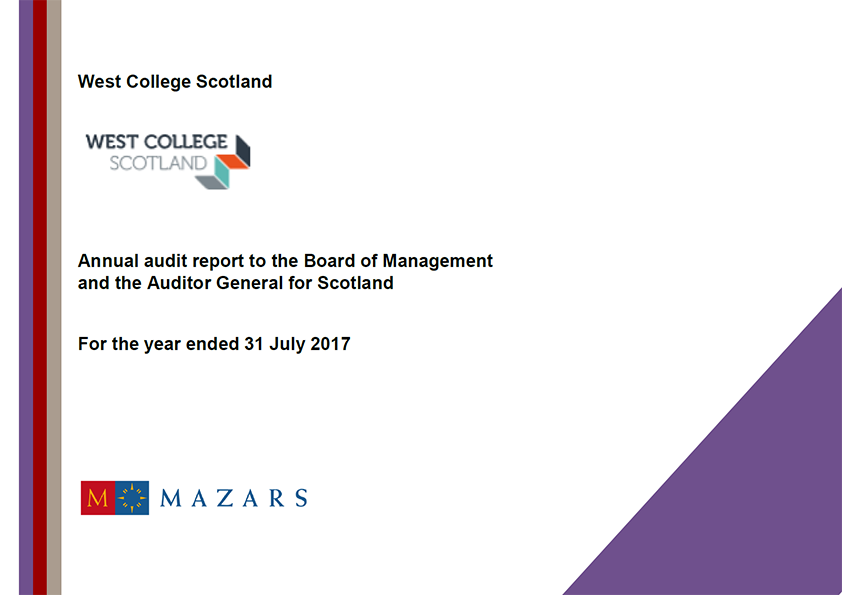 Report cover: West College Scotland annual audit report 2016/17