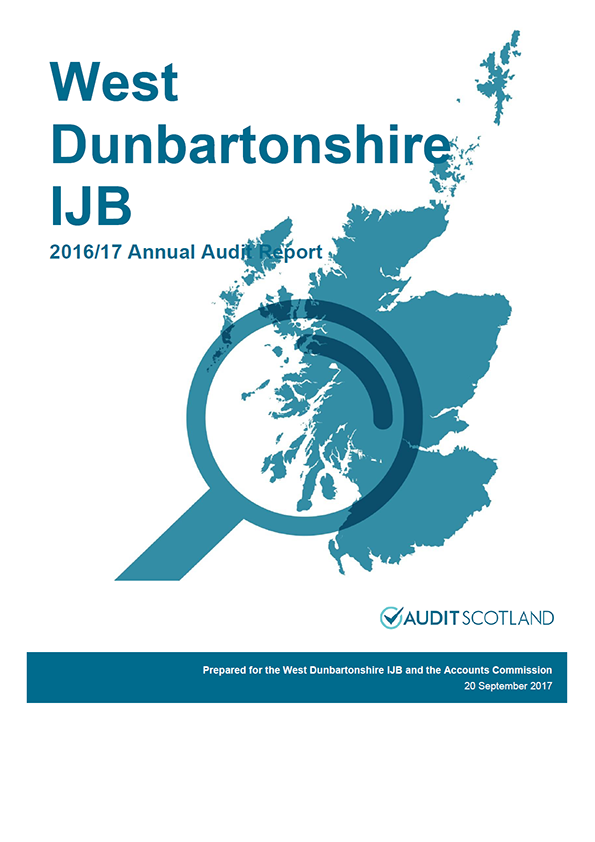 Report cover: West Dunbartonshire Integrated Joint Board annual audit report 2016/17