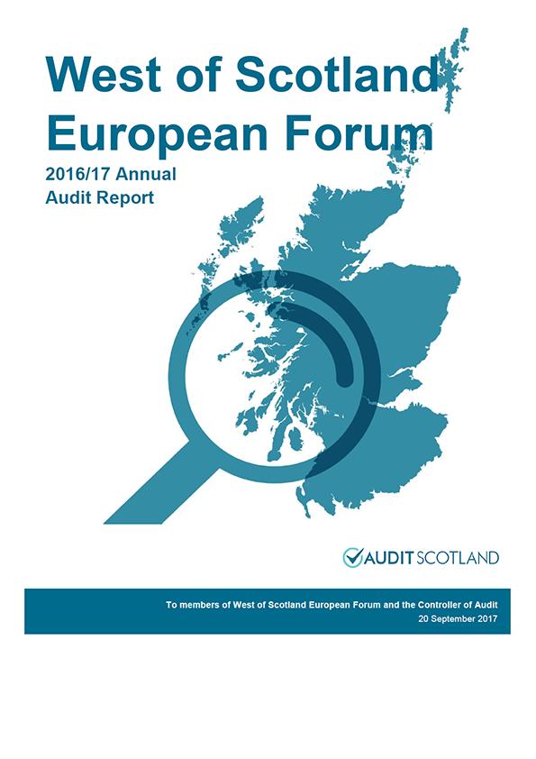 Report cover: West of Scotland European Forum annual audit report 2016/17