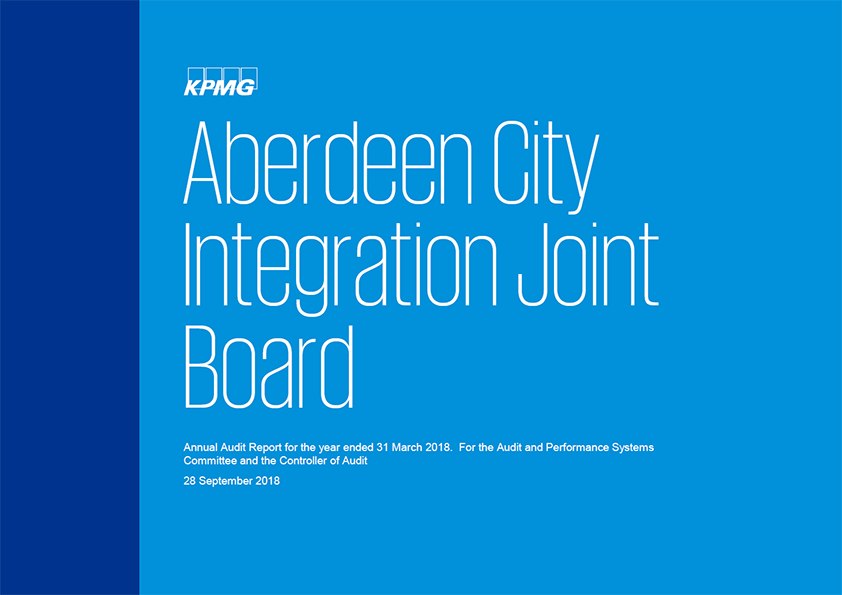 Report cover: Aberdeen City Integration Joint Board annual audit report 2017/18