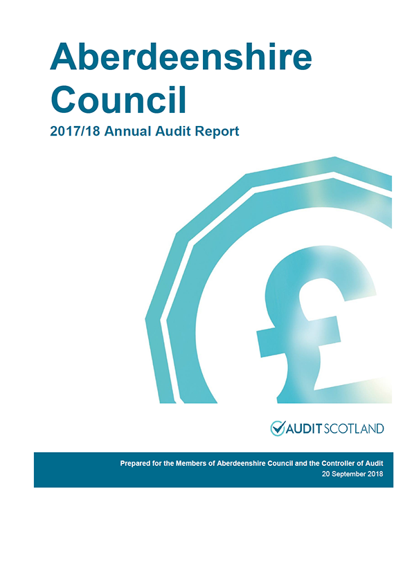 Report cover: Aberdeenshire Council annual audit report 2017/18