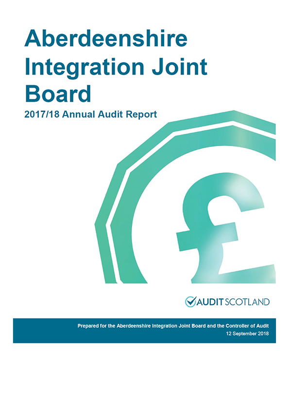 Report cover: Aberdeenshire Integration Joint Board annual audit report 2017/18