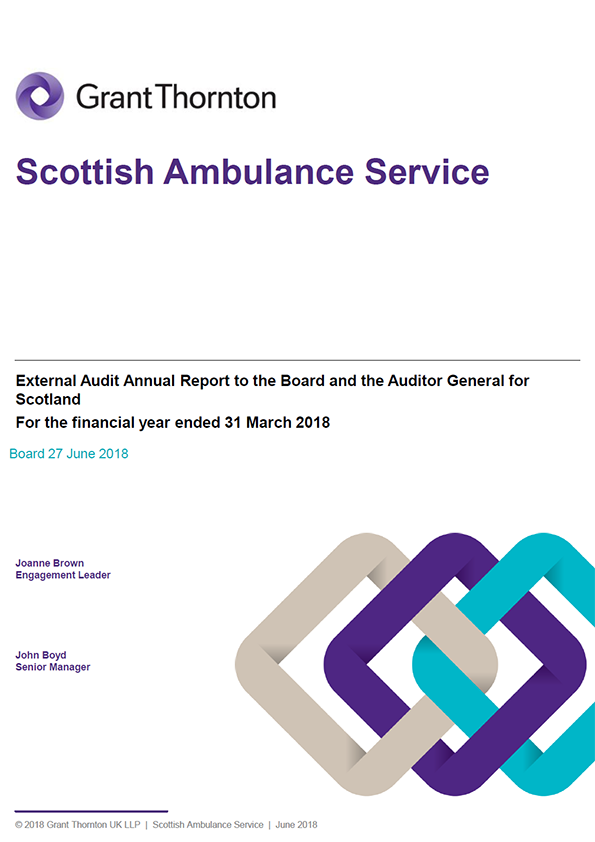 Report cover: Scottish Ambulance Service annual audit report 2017/18