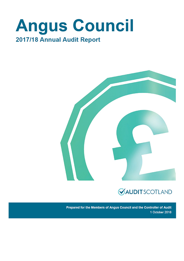 Report cover: Angus Council annual audit report 2017/18