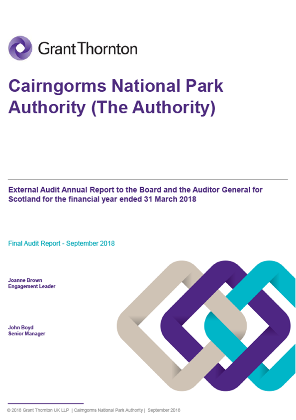 Report cover: Cairngorms National Park Authority annual audit report 2017/18