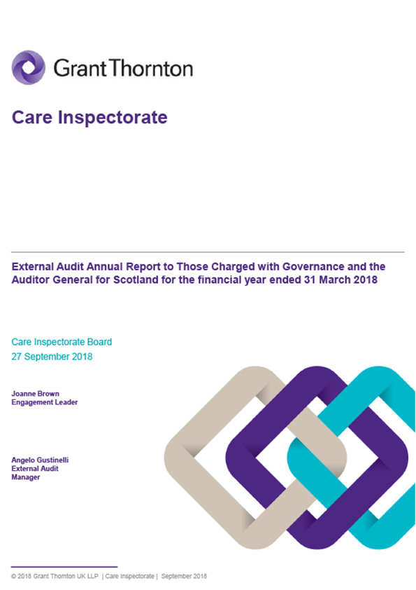 Report cover: Care Inspectorate annual audit report 2017/18