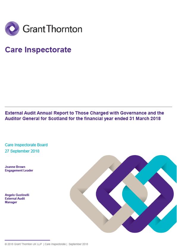 Report cover: Care Inspectorate annual audit report 2017/18